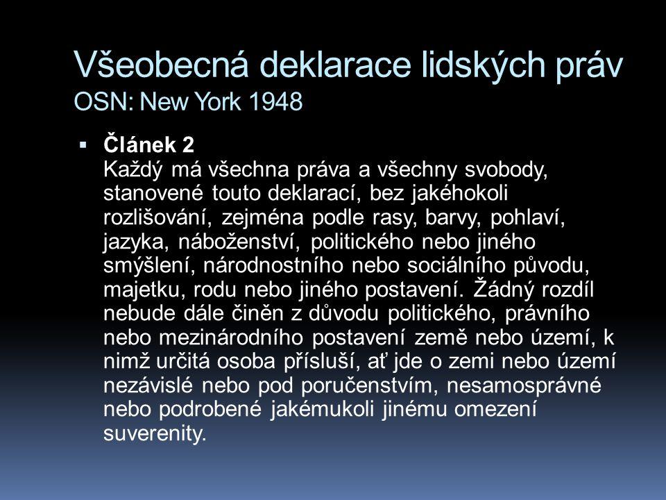Všeobecná deklarace lidských práv OSN: New York 1948