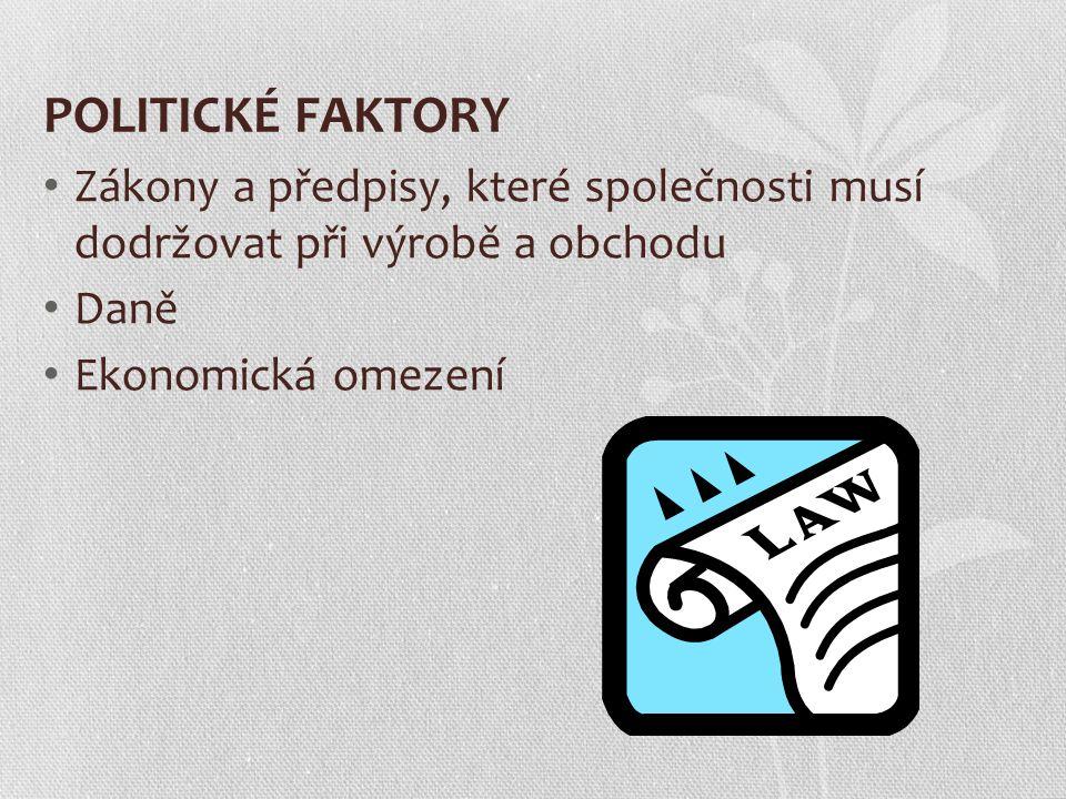 POLITICKÉ FAKTORY Zákony a předpisy, které společnosti musí dodržovat při výrobě a obchodu. Daně.