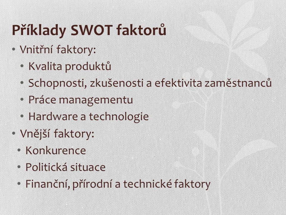 Příklady SWOT faktorů Vnější faktory: Vnitřní faktory: