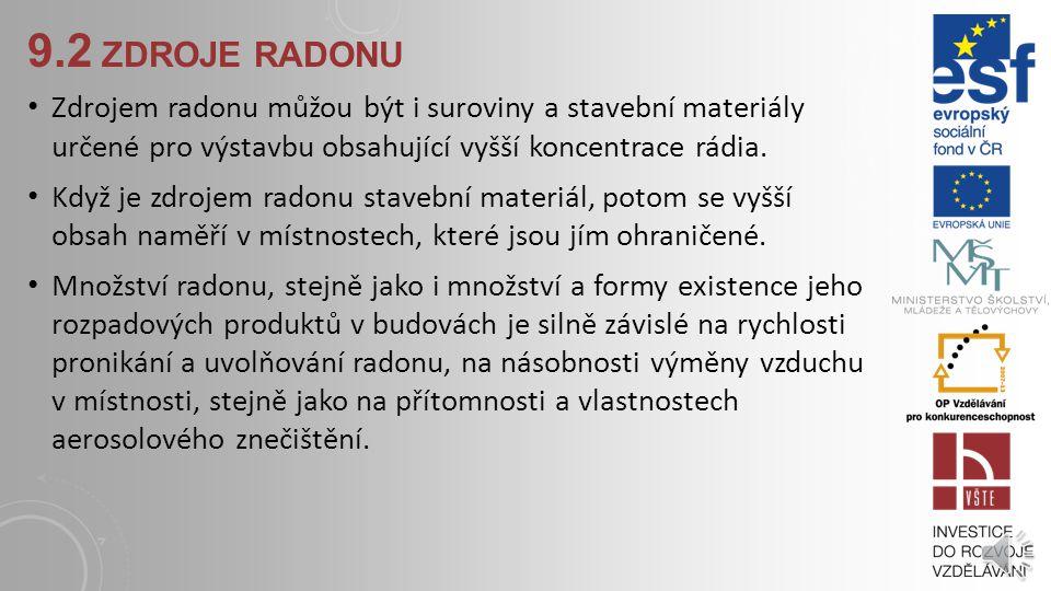 9.2 zdroje radonu Zdrojem radonu můžou být i suroviny a stavební materiály určené pro výstavbu obsahující vyšší koncentrace rádia.