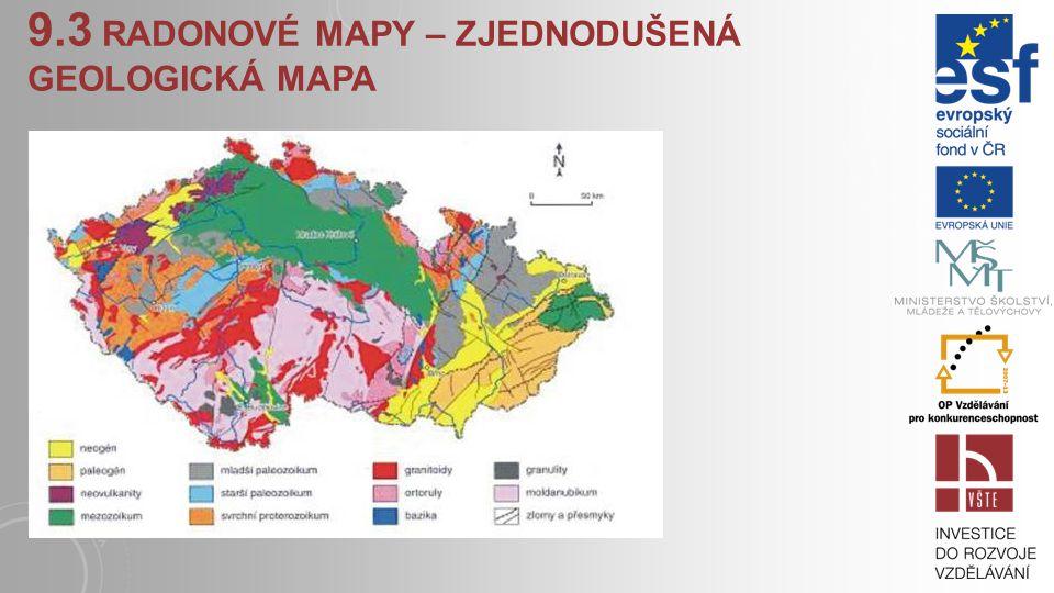 9.3 radonové mapy – zjednodušená geologická mapa