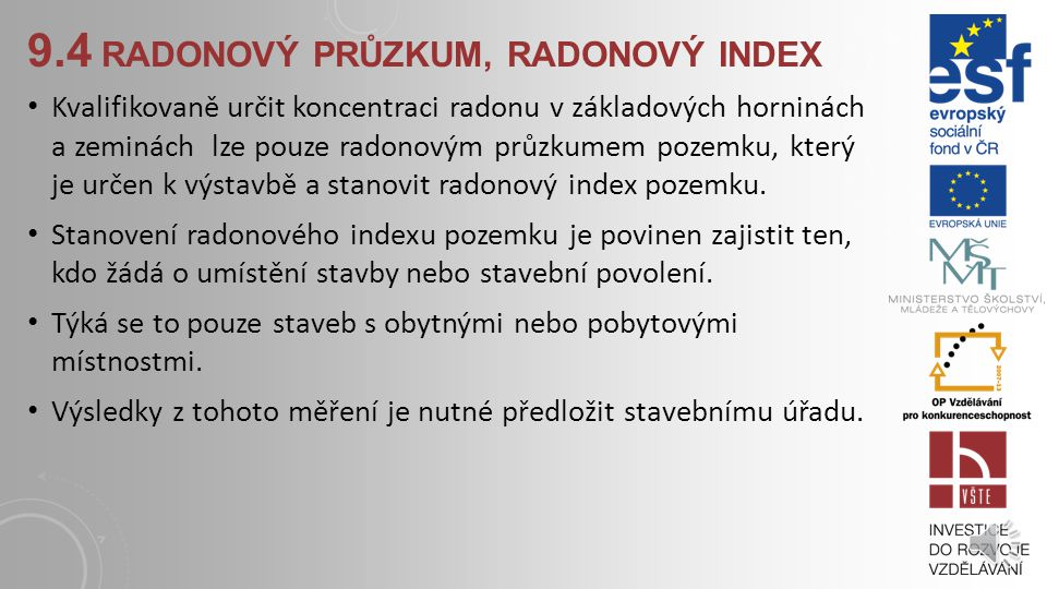 9.4 radonový průzkum, radonový index