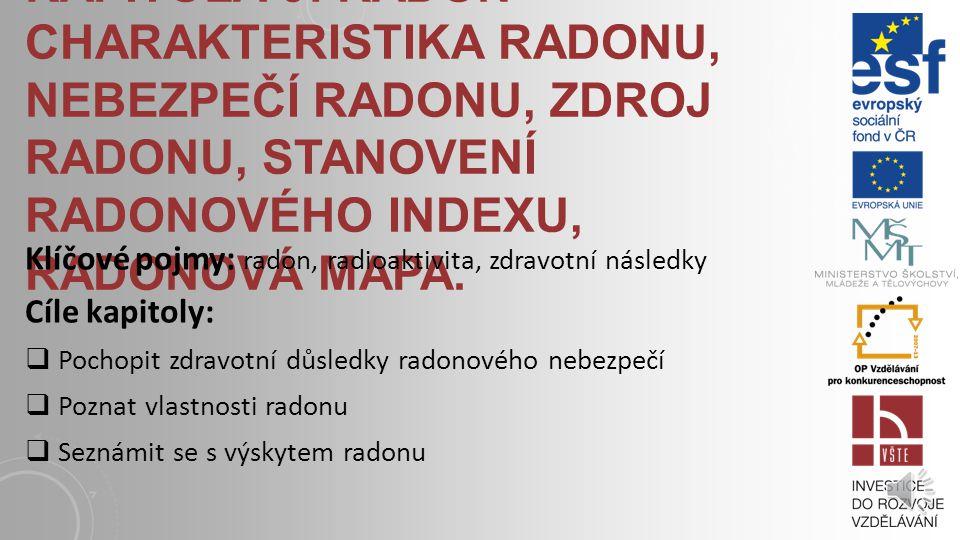 Kapitola 9: Radon - Charakteristika radonu, nebezpečí radonu, zdroj radonu, stanovení radonového indexu, radonová mapa.
