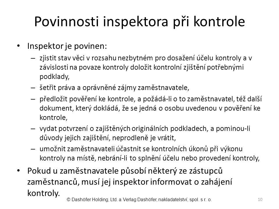 Povinnosti inspektora při kontrole
