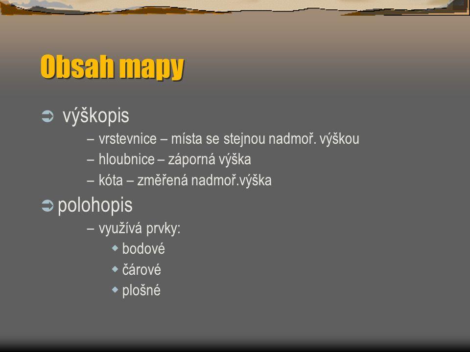 Obsah mapy výškopis polohopis