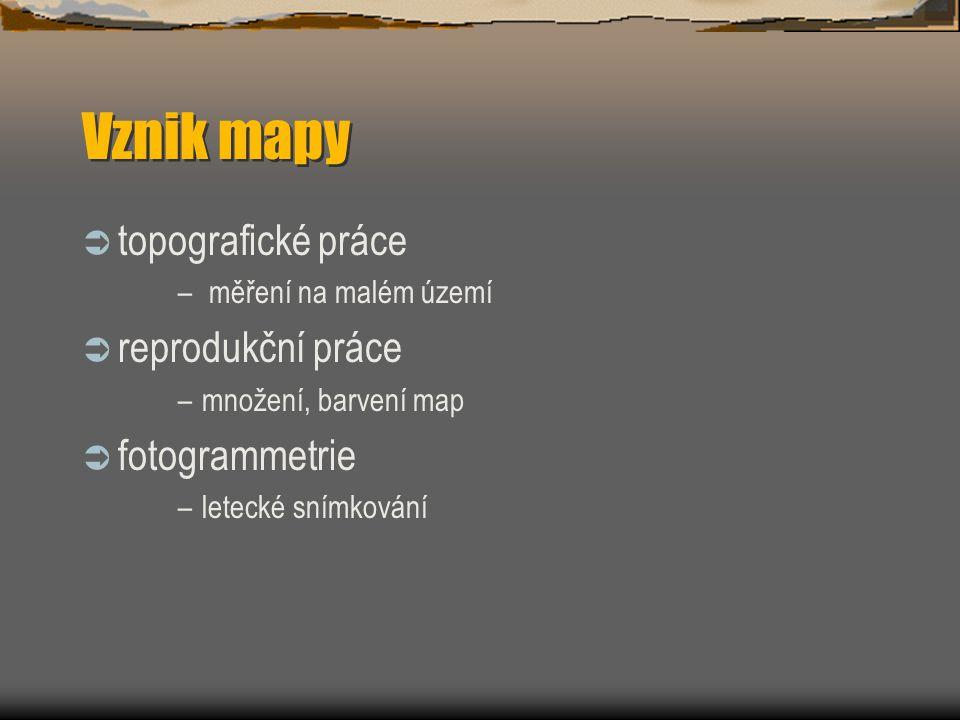 Vznik mapy topografické práce reprodukční práce fotogrammetrie