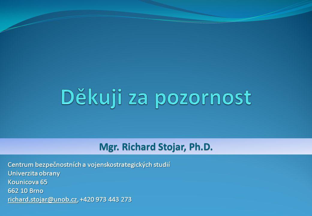 Děkuji za pozornost Mgr. Richard Stojar, Ph.D.