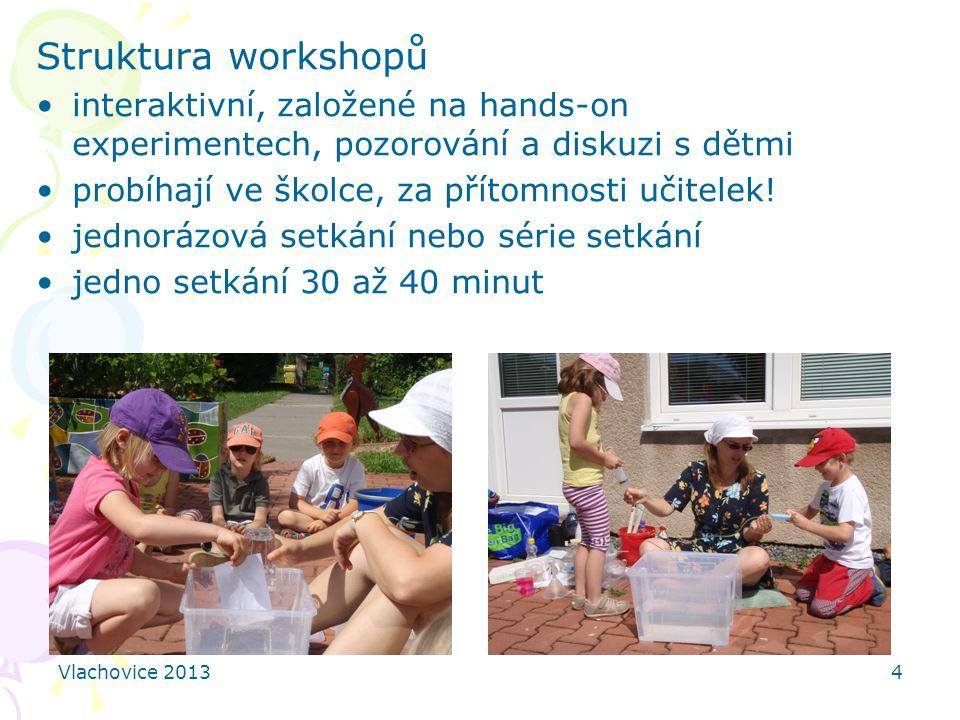 Struktura workshopů interaktivní, založené na hands-on experimentech, pozorování a diskuzi s dětmi.