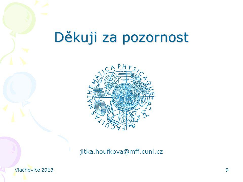 Děkuji za pozornost jitka.houfkova@mff.cuni.cz Vlachovice 2013