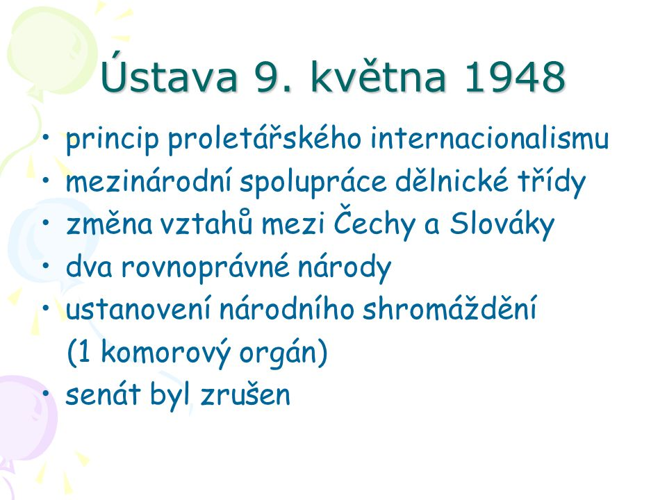 Ústava 9. května 1948 princip proletářského internacionalismu