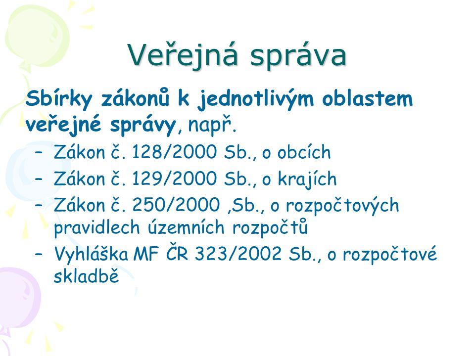 Veřejná správa Sbírky zákonů k jednotlivým oblastem veřejné správy, např. Zákon č. 128/2000 Sb., o obcích.