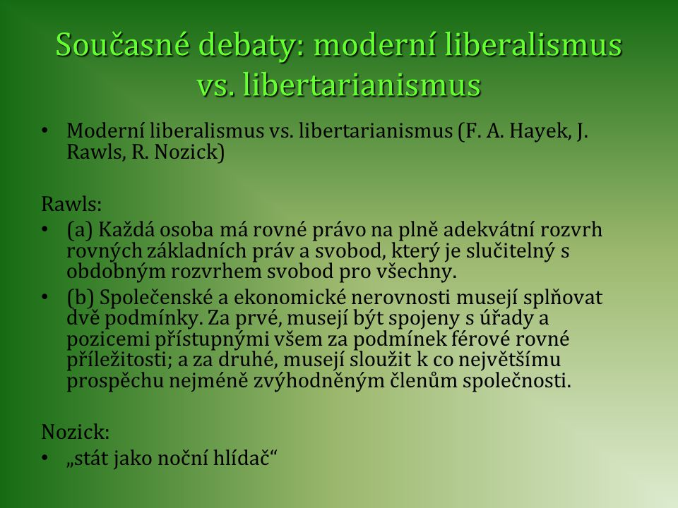 Současné debaty: moderní liberalismus vs. libertarianismus