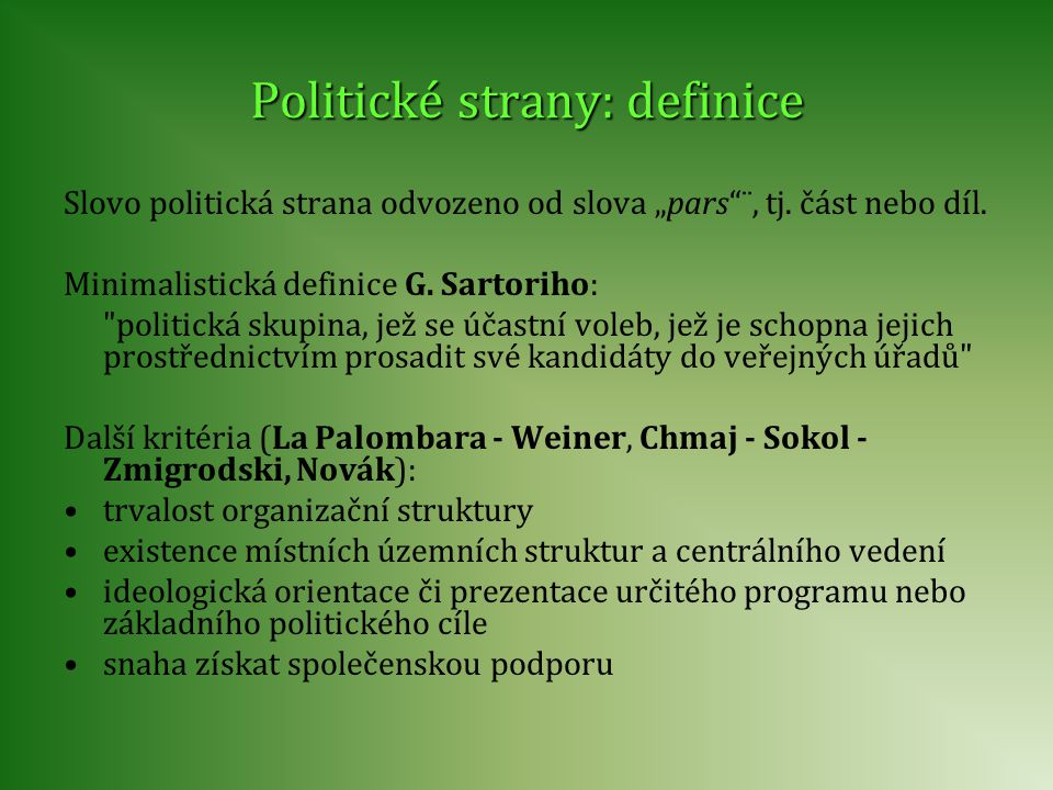 Politické strany: definice