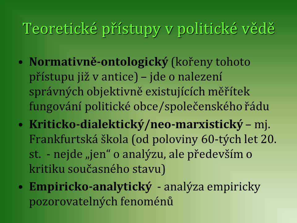 Teoretické přístupy v politické vědě