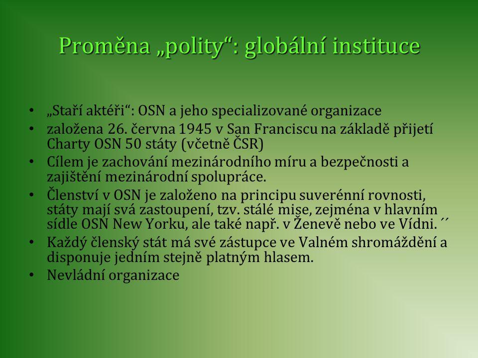 """Proměna """"polity : globální instituce"""