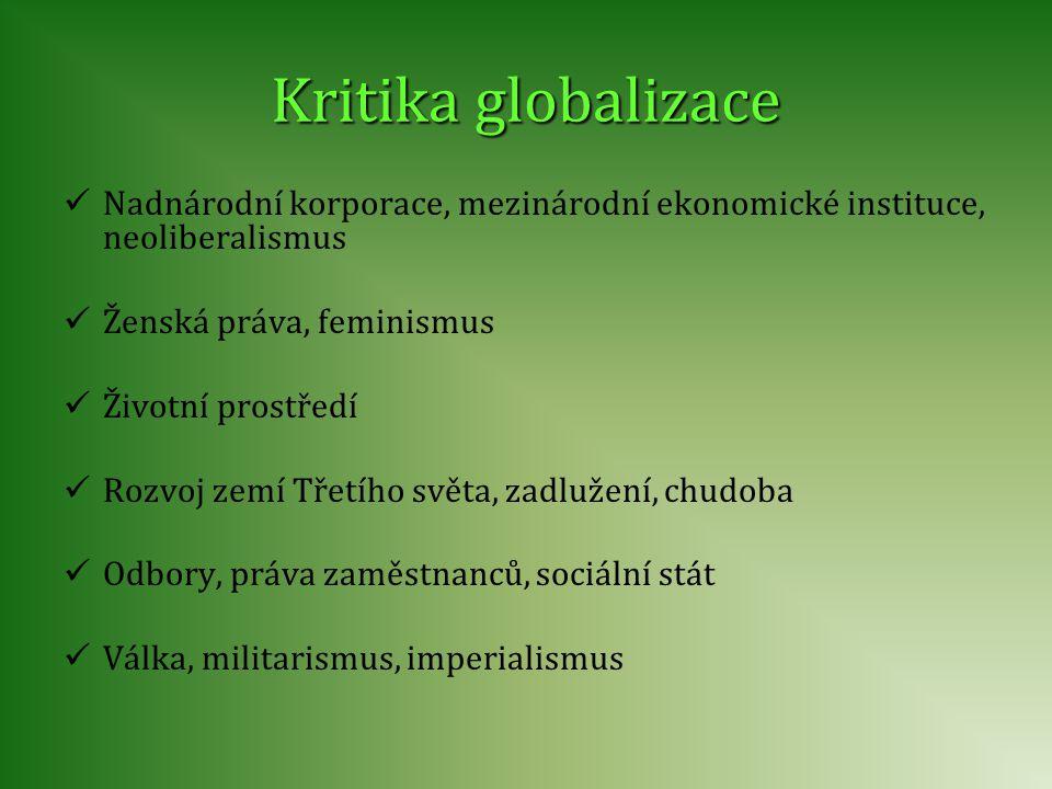 Kritika globalizace Nadnárodní korporace, mezinárodní ekonomické instituce, neoliberalismus. Ženská práva, feminismus.