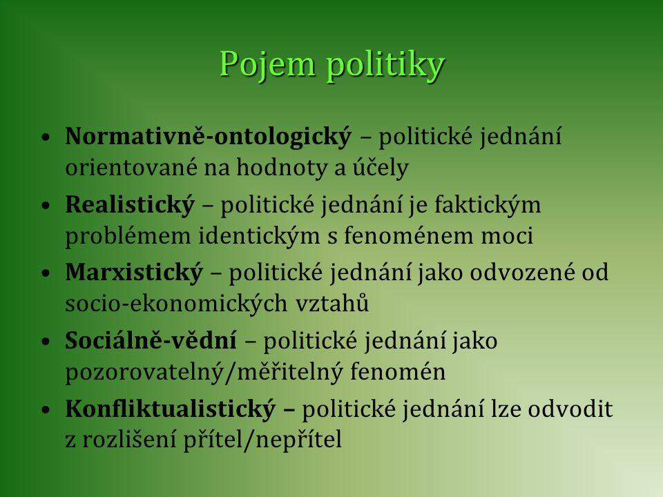 Pojem politiky Normativně-ontologický – politické jednání orientované na hodnoty a účely.
