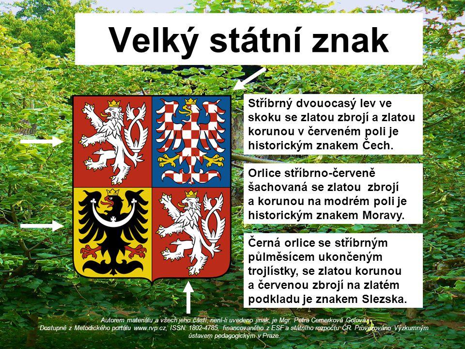Velký státní znak Stříbrný dvouocasý lev ve skoku se zlatou zbrojí a zlatou korunou v červeném poli je historickým znakem Čech.
