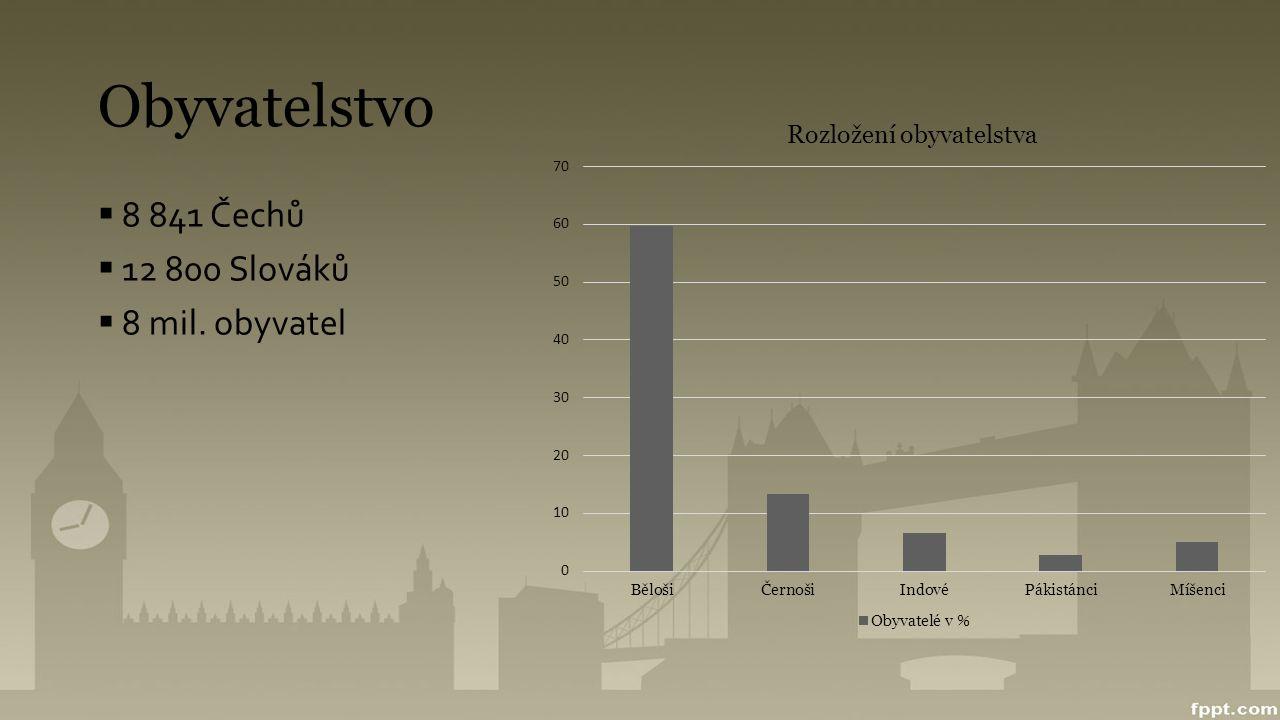 Obyvatelstvo 8 841 Čechů 12 800 Slováků 8 mil. obyvatel