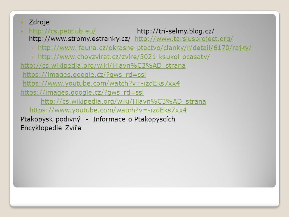 Zdroje http://cs.petclub.eu/ http://tri-selmy.blog.cz/ http://www.stromy.estranky.cz/ http://www.tarsiusproject.org/