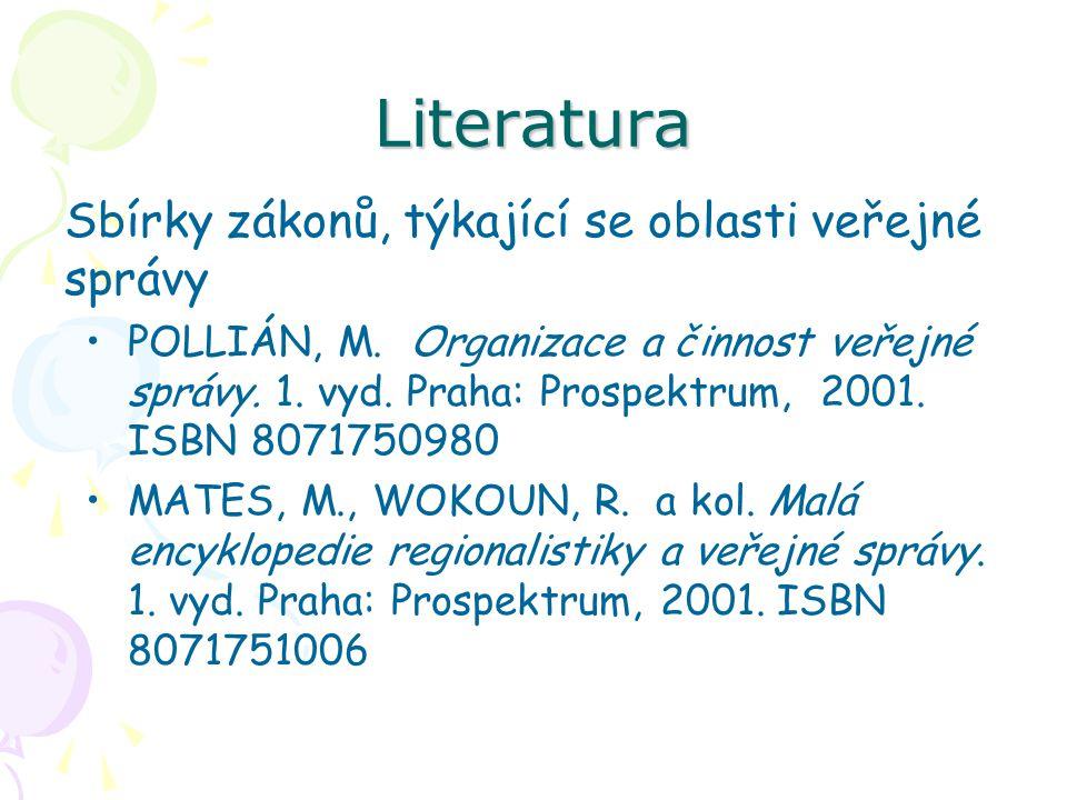 Literatura Sbírky zákonů, týkající se oblasti veřejné správy