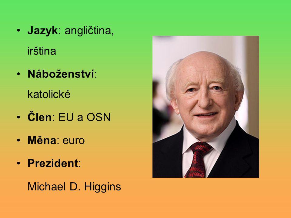 Jazyk: angličtina, irština