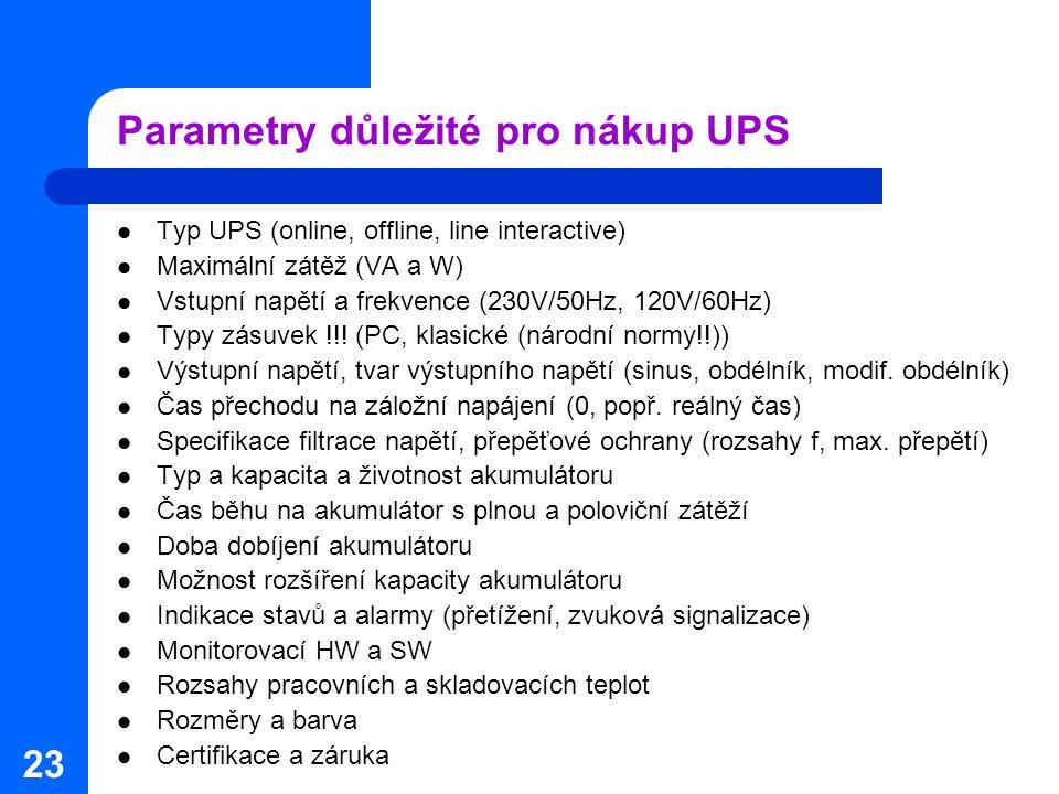 Parametry důležité pro nákup UPS