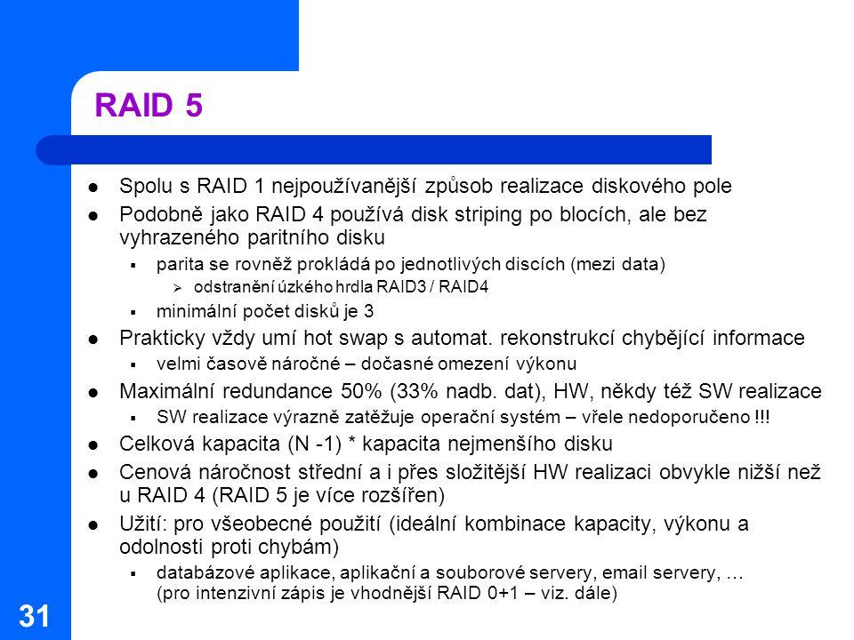 RAID 5 Spolu s RAID 1 nejpoužívanější způsob realizace diskového pole