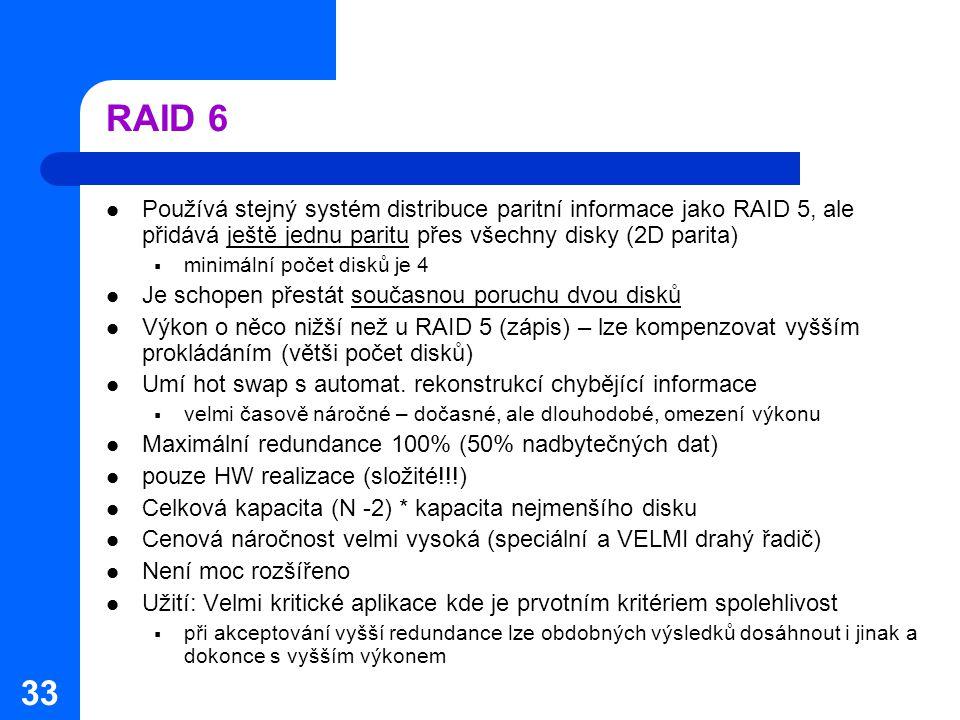RAID 6 Používá stejný systém distribuce paritní informace jako RAID 5, ale přidává ještě jednu paritu přes všechny disky (2D parita)