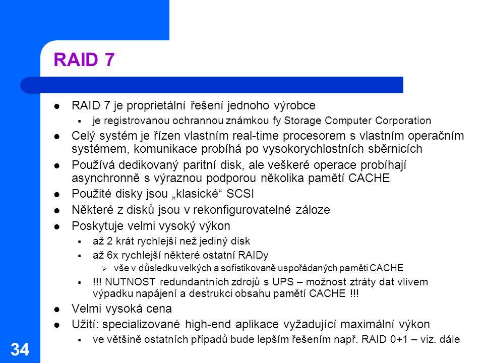 RAID 7 RAID 7 je proprietální řešení jednoho výrobce