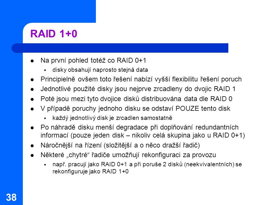 RAID 1+0 Na první pohled totéž co RAID 0+1