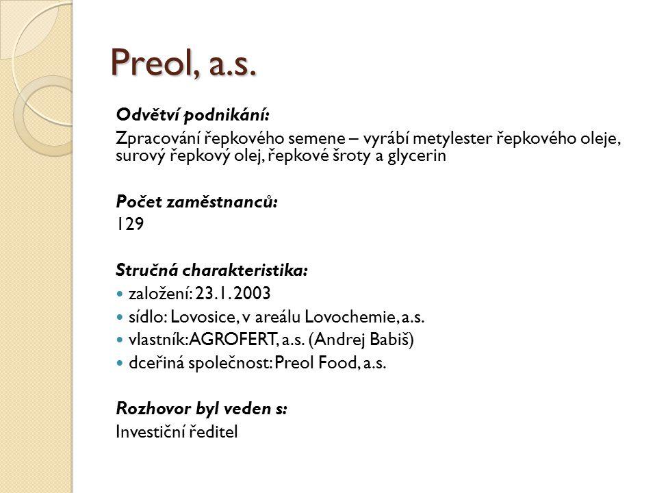 Preol, a.s. Odvětví podnikání: