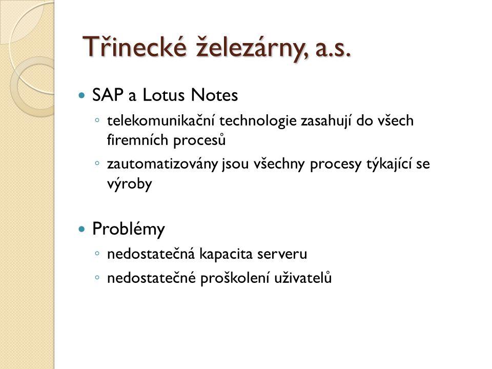 Třinecké železárny, a.s. SAP a Lotus Notes Problémy