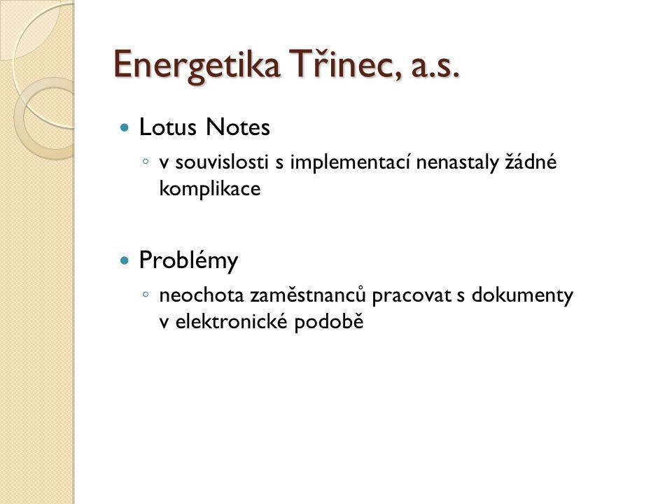 Energetika Třinec, a.s. Lotus Notes Problémy