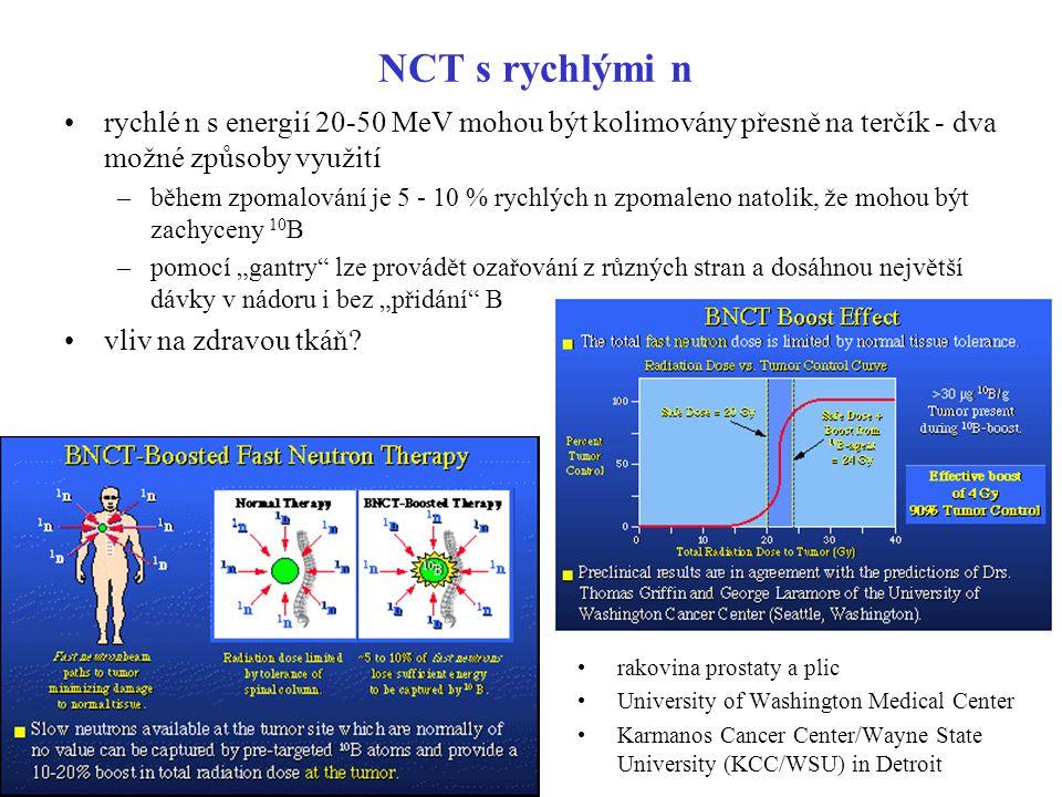 NCT s rychlými n rychlé n s energií 20-50 MeV mohou být kolimovány přesně na terčík - dva možné způsoby využití.