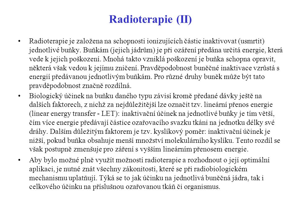 Radioterapie (II)