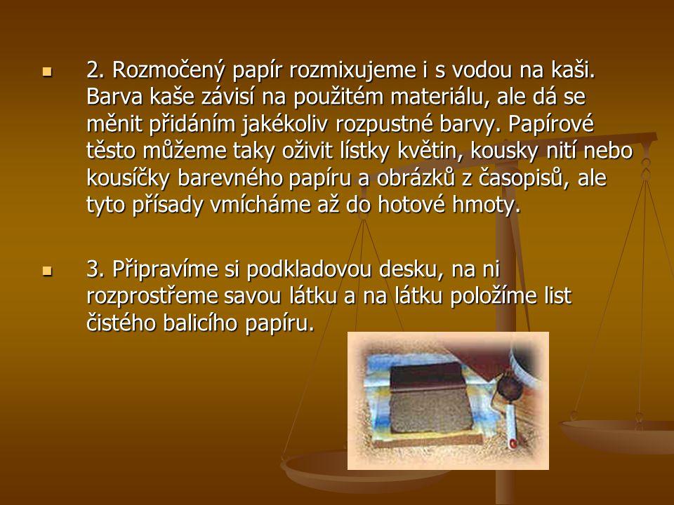 2. Rozmočený papír rozmixujeme i s vodou na kaši