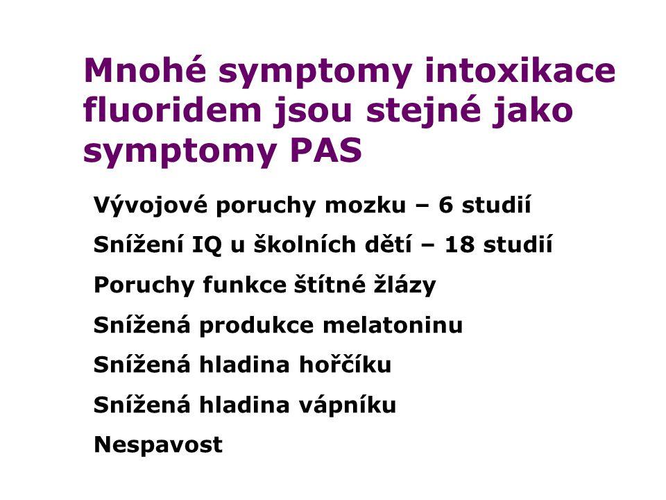 Mnohé symptomy intoxikace fluoridem jsou stejné jako symptomy PAS