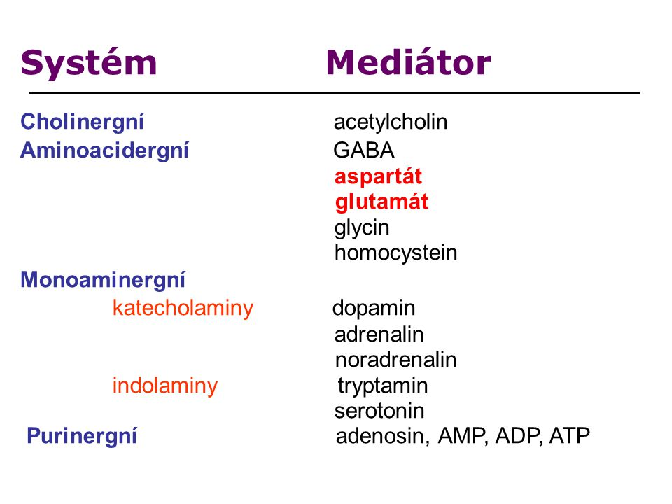 Systém Mediátor Cholinergní acetylcholin Aminoacidergní GABA aspartát