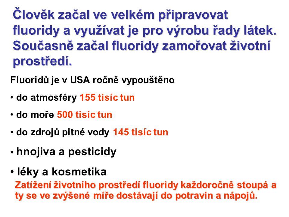 Člověk začal ve velkém připravovat fluoridy a využívat je pro výrobu řady látek. Současně začal fluoridy zamořovat životní prostředí.
