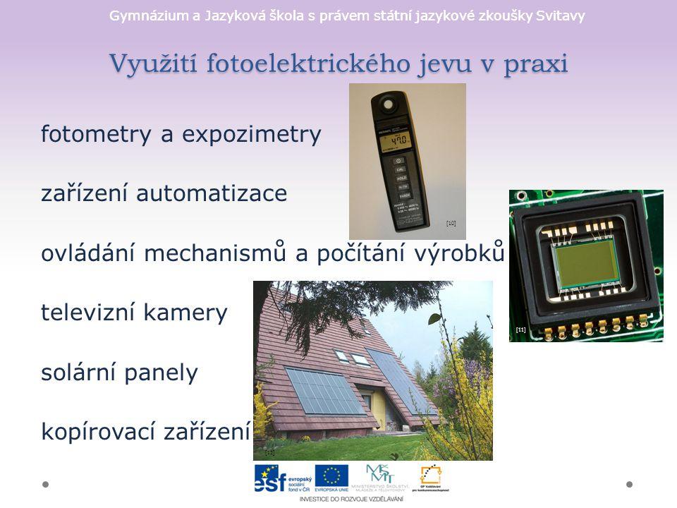Využití fotoelektrického jevu v praxi