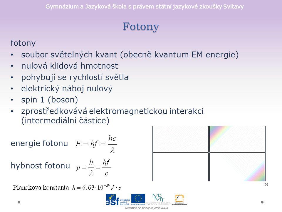 Fotony fotony soubor světelných kvant (obecně kvantum EM energie)