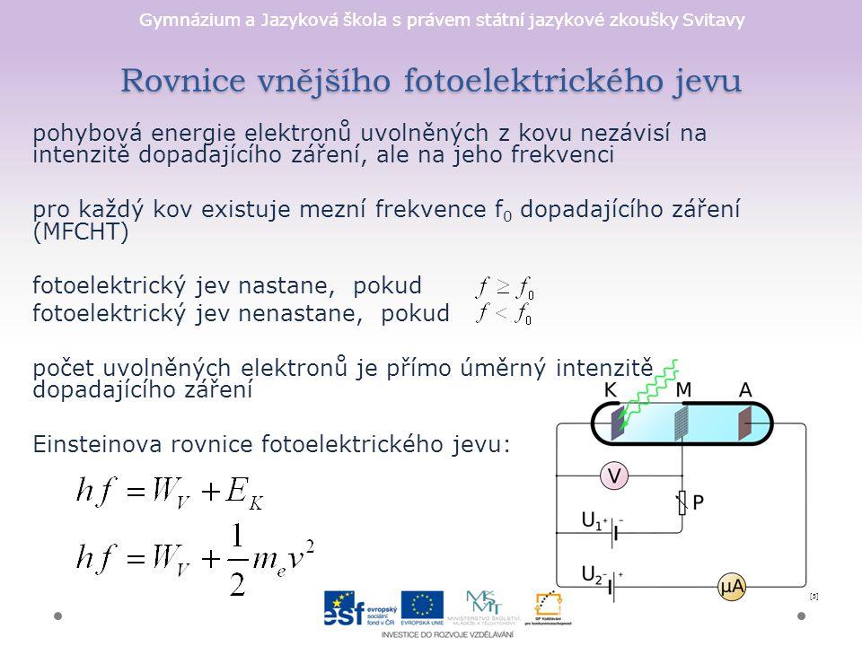 Rovnice vnějšího fotoelektrického jevu
