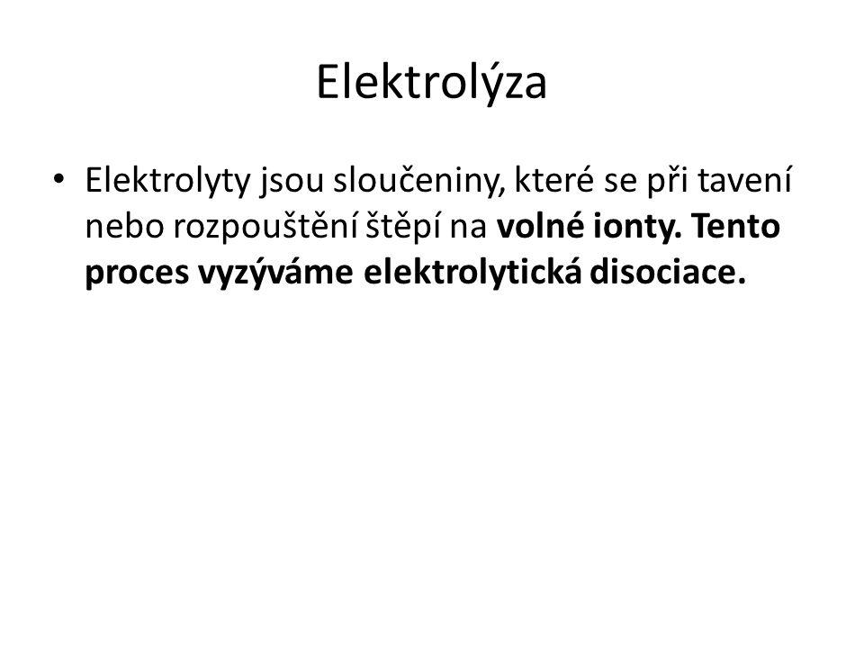 Elektrolýza Elektrolyty jsou sloučeniny, které se při tavení nebo rozpouštění štěpí na volné ionty.