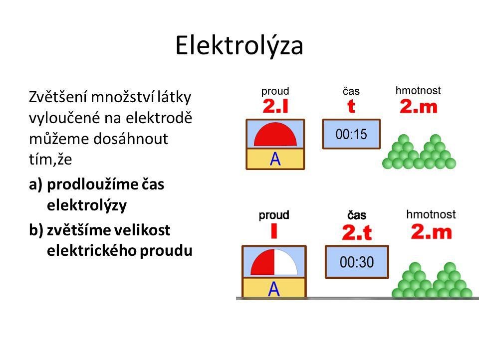 Elektrolýza Zvětšení množství látky vyloučené na elektrodě můžeme dosáhnout tím,že. a) prodloužíme čas elektrolýzy.