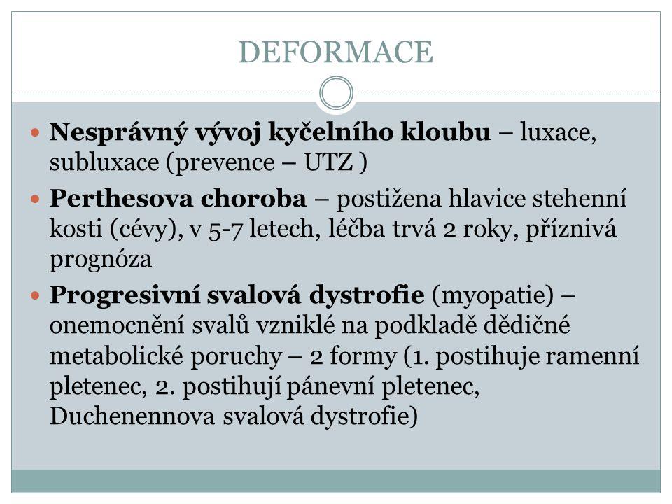 DEFORMACE Nesprávný vývoj kyčelního kloubu – luxace, subluxace (prevence – UTZ )