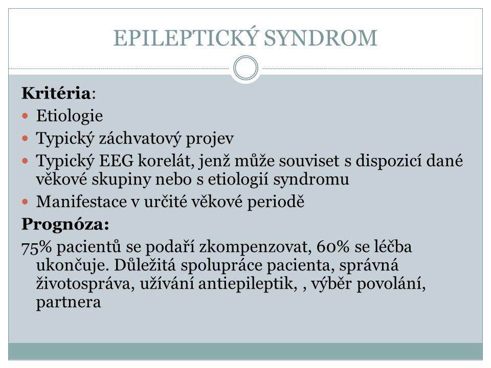 EPILEPTICKÝ SYNDROM Kritéria: Etiologie Typický záchvatový projev
