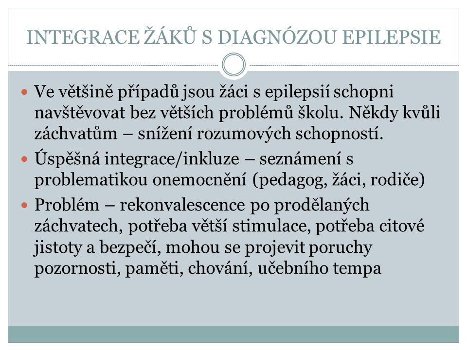 INTEGRACE ŽÁKŮ S DIAGNÓZOU EPILEPSIE