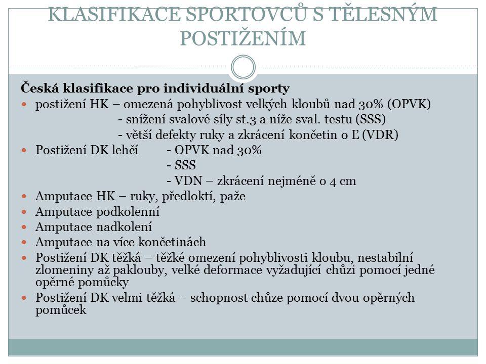 Česká klasifikace pro individuální sporty 1. postižení HK