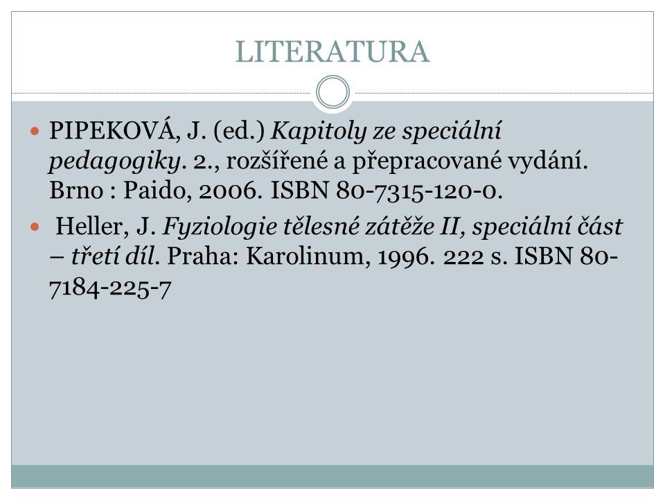 LITERATURA PIPEKOVÁ, J. (ed.) Kapitoly ze speciální pedagogiky. 2., rozšířené a přepracované vydání. Brno : Paido, 2006. ISBN 80-7315-120-0.